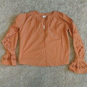 Orange Bell Sleeve Blouse
